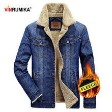 2020 plus size M 6XL inverno moda masculina estilo casual velo quente cowboy jaqueta casaco homem primavera outono denim azul casacos