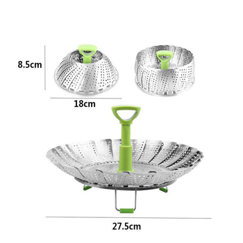 Stainless Steel Retractable Food Steamer Cooker Steam Basket Steaming Tray Fruit Vegetable Bowl kitchen Accessories Cooking
