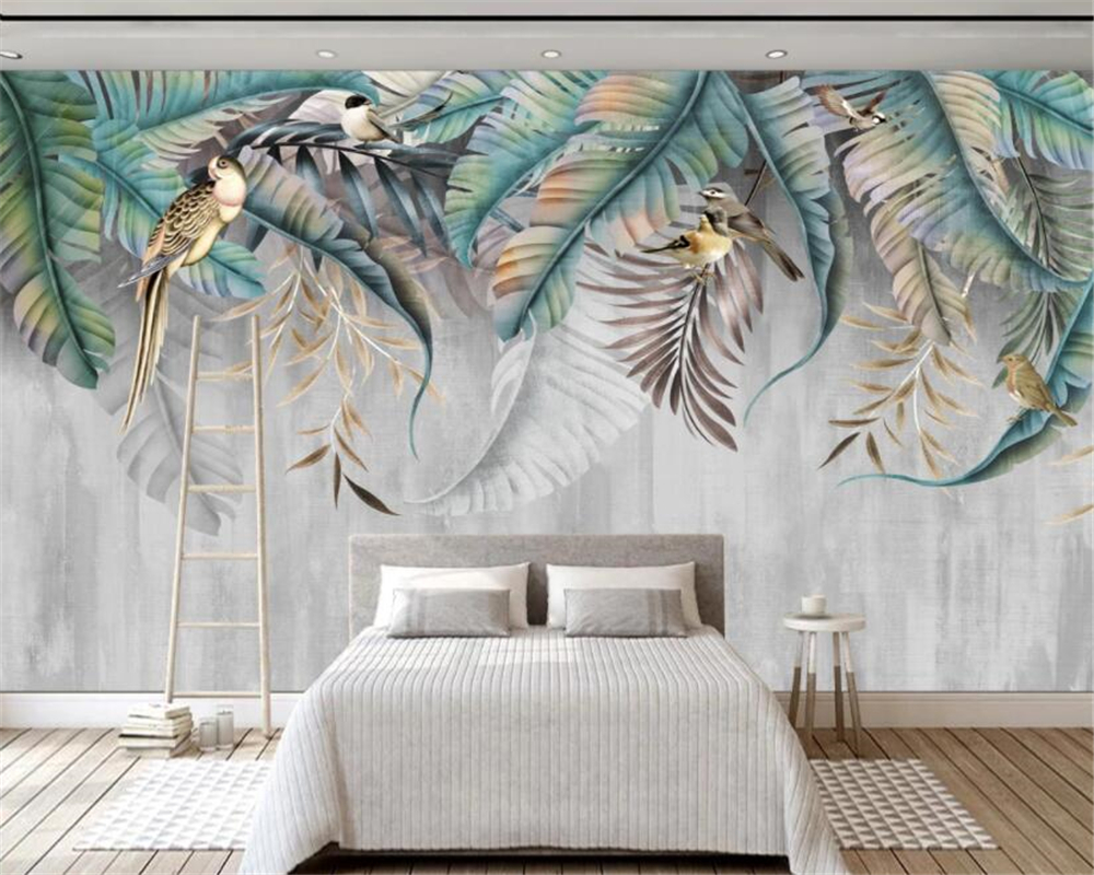 Beibehang 3d Wallpaper Plant Leaf Flower Bird Wall Background Decoration Cafe Restaurant Bar Background Wall 3d Wallpaper