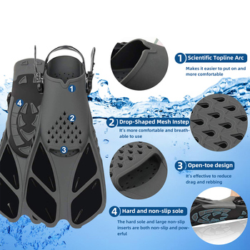 Snorkeling Foot Diving Fins Professional Snorkeling Foot Diving Fins Adjustable Adult kids Swimming Comfort Fins Flippers Swimming Equipment. - FitnessKim