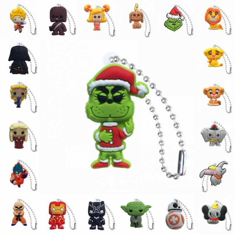 1 stücke PVC Keychain Cartoon Figur Game of Thrones Star Wars Rick und Morty Metall Ball Kette Schlüssel Kette Ball kette