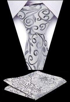 Fashion Men`s Necktie 100% Silk Geometric Tie Handkerchief  Sets For Neck Wedding Business Party Gift Men