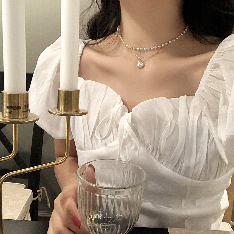 Fashion Round Simulated-pearl Pendant Necklace for Women Gold Color Beads Chain Collar Choker Necklace Boho Jewelry Gift