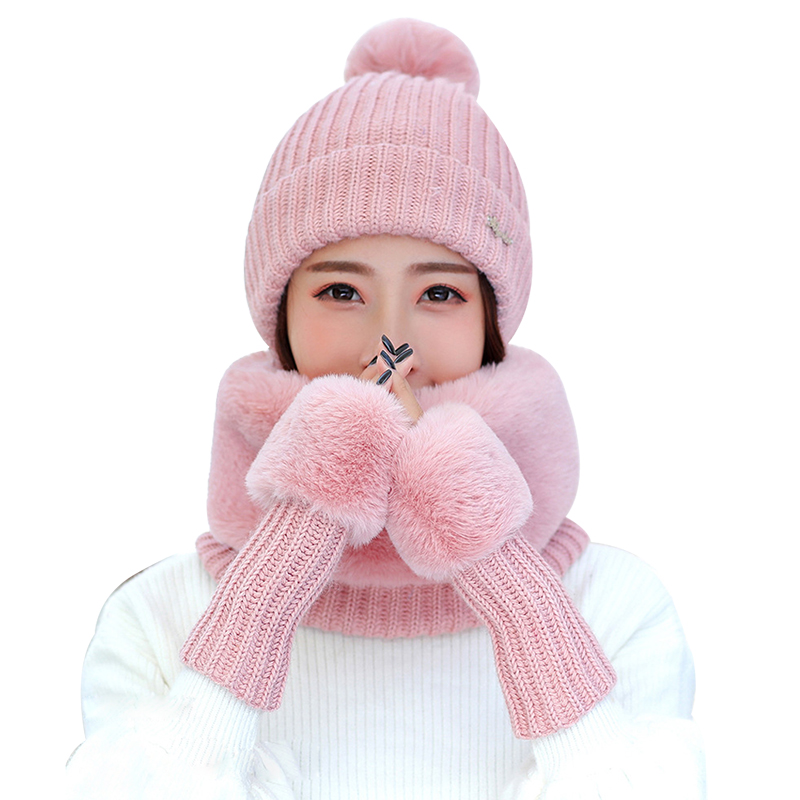 New 2020 High Quality Faux Fur Scarf Women Winter Fashion Hat Scarf And Gloves Plus Velvet Thick Female Mitten Lic Scarf 3/Set