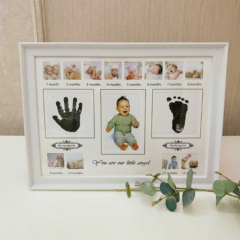 Baby Handprint Footprint Photo Frame With Stamp Ink Newborn Decor Gift Kids Imprint Hand Inkpad Souvenirs P31B