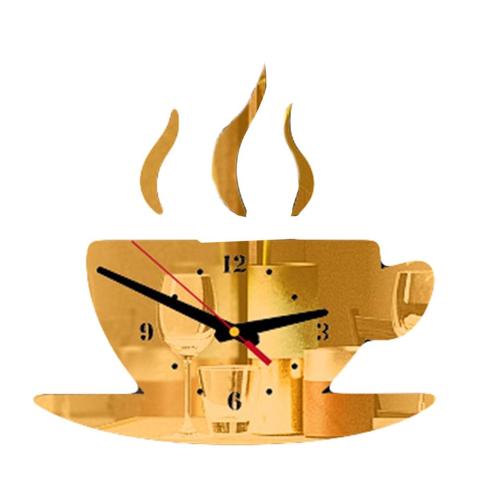 Coffee Shape Removable Diy Acrylic 3d Mirror Wall Sticker Decorative Clock Wall Clock Quartz Watch Reloj De Pared Living Room 6