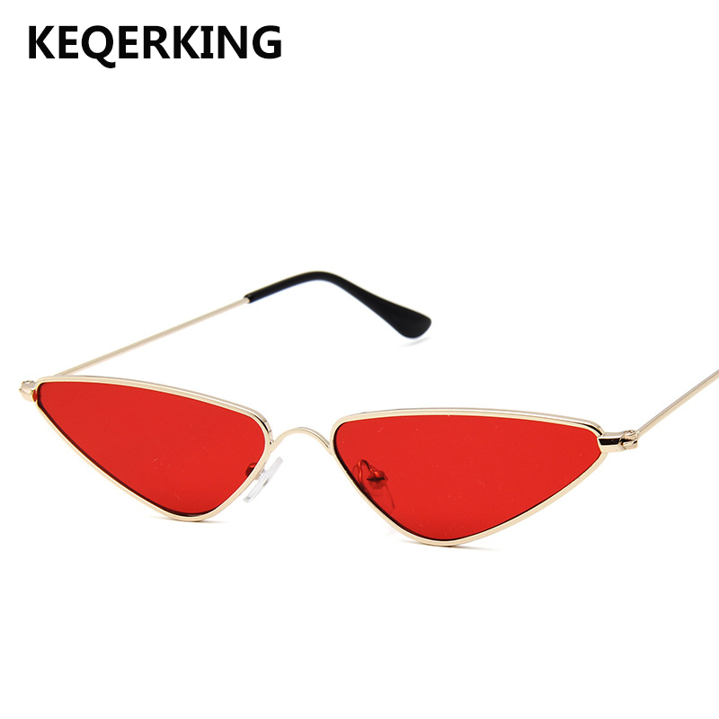 KEQERKING Metal Frame Cat Eye Sunglasses Female Cute Sexy Brand Designer Summer Retro Small Frame Black Red Sunglasses UV400