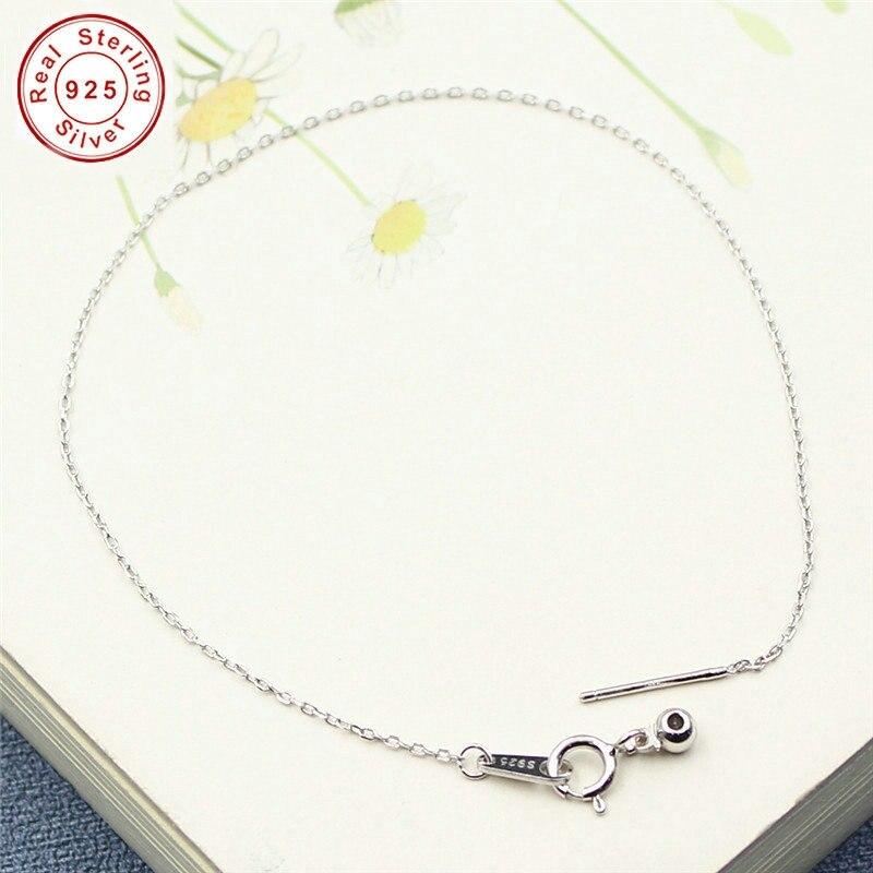 16/18/20/22/24/26CM 925 Sterling Silver Platinum Plated Bracelet Base for DIY Anklet Bracelet Fine Jewelry Findings