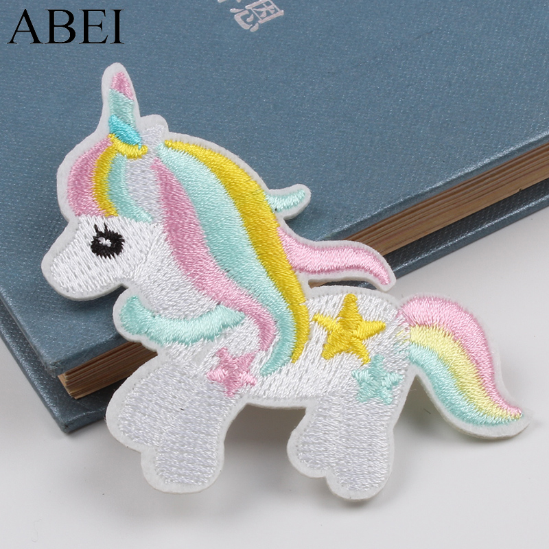 Orderly 5pcs New Cartoon Unicorn Patches Iron On Embroidery Animal Stickers Diy Garments Badge Sew On Bags Pants Decoration Appliques