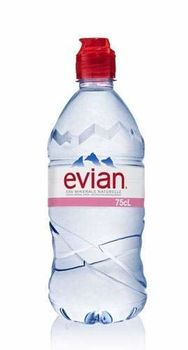 Evian Natural Mineral Water 750ml Sports Cap (Pack of 12 x 75cl)