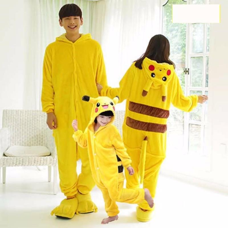 Pajama Adult Animal Pikachu Onesie Women Men Couple 2019 Winter Pajamas Suit Stitch Sleepwear Flannel Pijamas