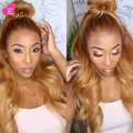Elia эффектом деграде (переход от темного к Цветной парик шнурка объемная волна человеческих волос парики для чернокожих Для Женщин Бразильс...