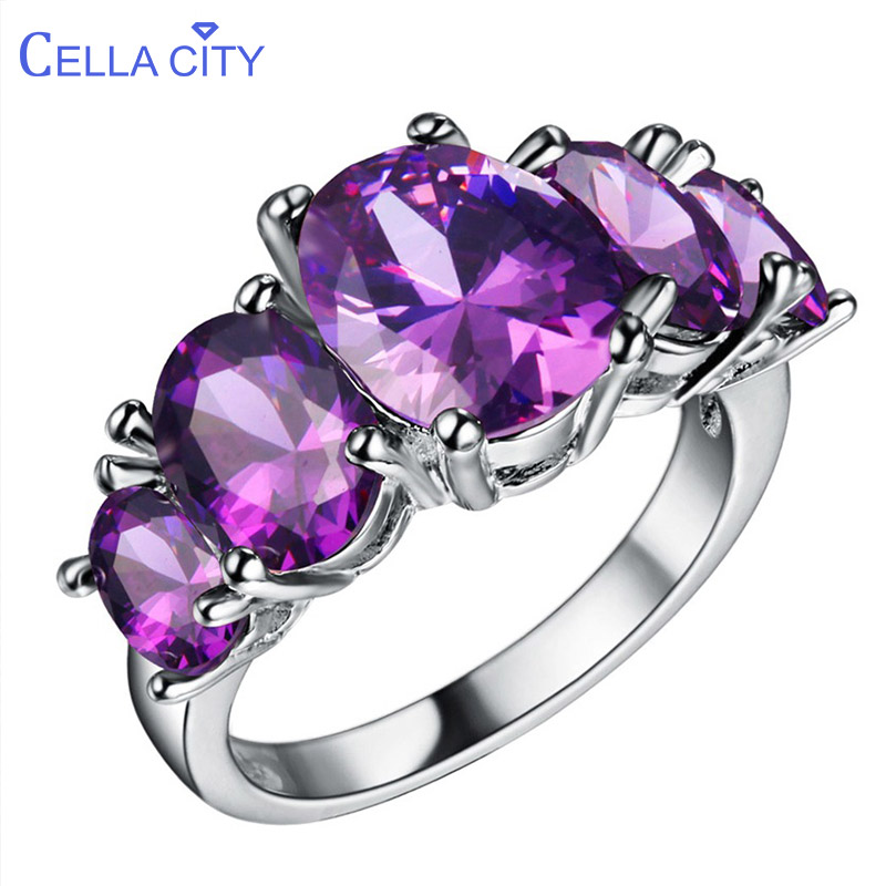 Cellacity Classic Silver 925 Jewelry Gemstones Ring For Women Amethyst Sapphire Ruby Emerald Powder Crystal Wedding Engagement