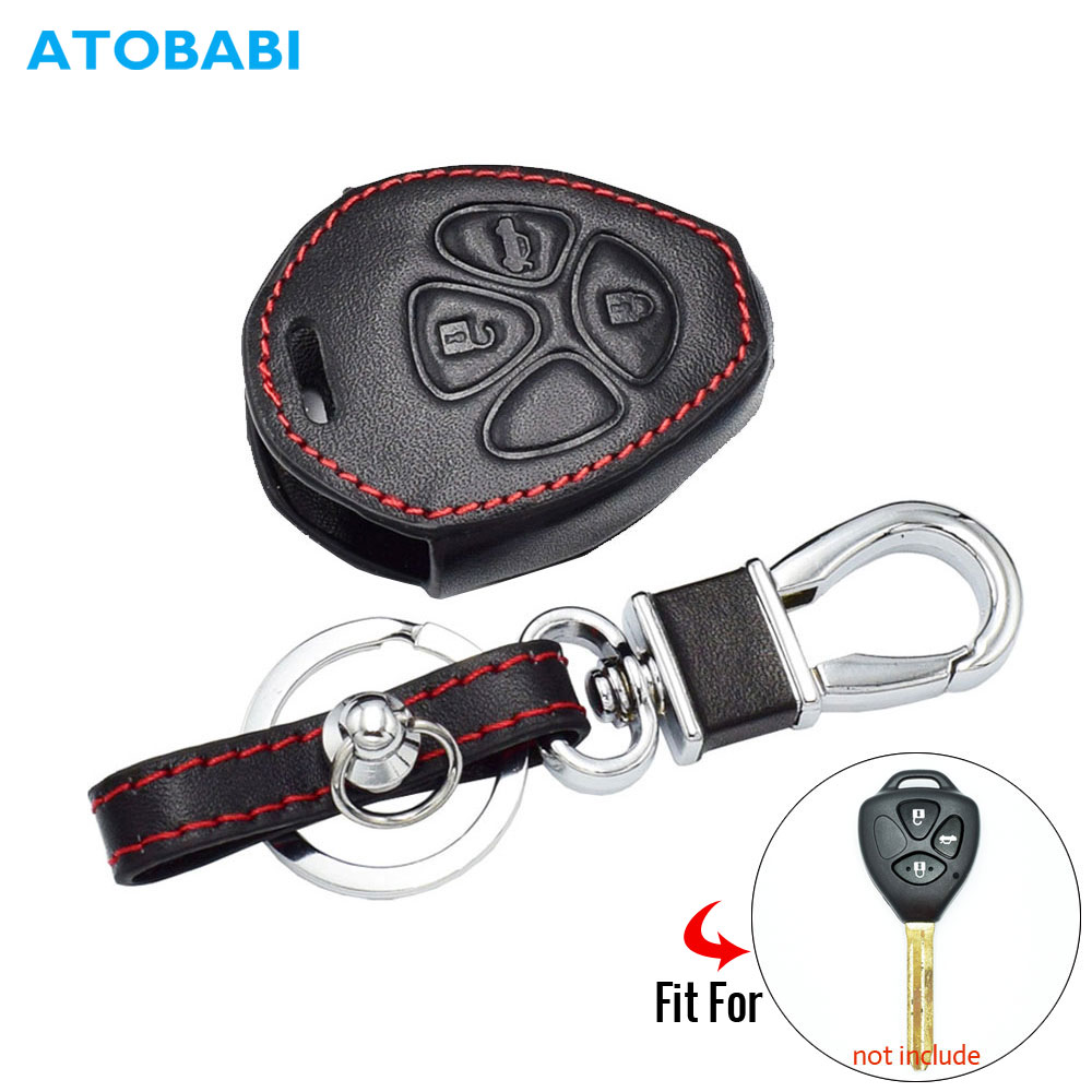 Real Leather Car Key Case Fit For Toyota Prado Mark Corolla Camry Reiz 3 Buttons Keyless Remote Fob Shell Cover Holder Keys Bag