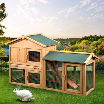 """61"""" Wooden Chicken Coop Hen House Large 2 Layer Rabbit Hutch Poultry Cage Habitat Open Base Fir Wood Color[US-Stock]"""