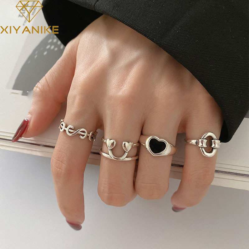 XIYANIKE 925 Sterling Silver Korea Heart Shaped Love Peach Dollar Smiley Ring Female Hot Index Finger Tail Ring Fashion Trend