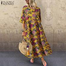 ZANZEA Summer Women Vintage Half Sleeve Floral Printed Sundress Ladies Party Beach Cotton Linen