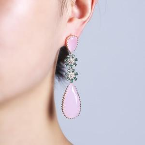 Image 4 - Pink Color Zircon Drop Earrings Luxury Long Water Drop Shape CZ Stone Elagant Lady`s Earrings Jewelry for Wedding XIUMEIYIZU New