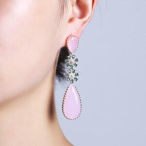 Image 4 - Rosa Farbe Zirkon Ohrringe Luxus Lange Wasser Tropfen Form CZ Stein Elagant lady Ohrringe Schmuck für Hochzeit XIUMEIYIZU neue