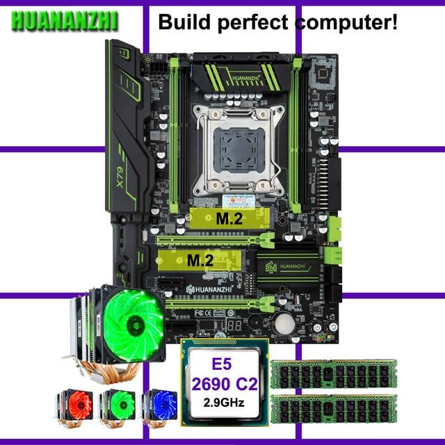 HUANANZHI X79 Pro carte mère avec double M.2 slot discount carte mère CPU Xeon E5 2690 2.9GHz 6 tubes refroidisseur RAM 32G(2*16G) RECC