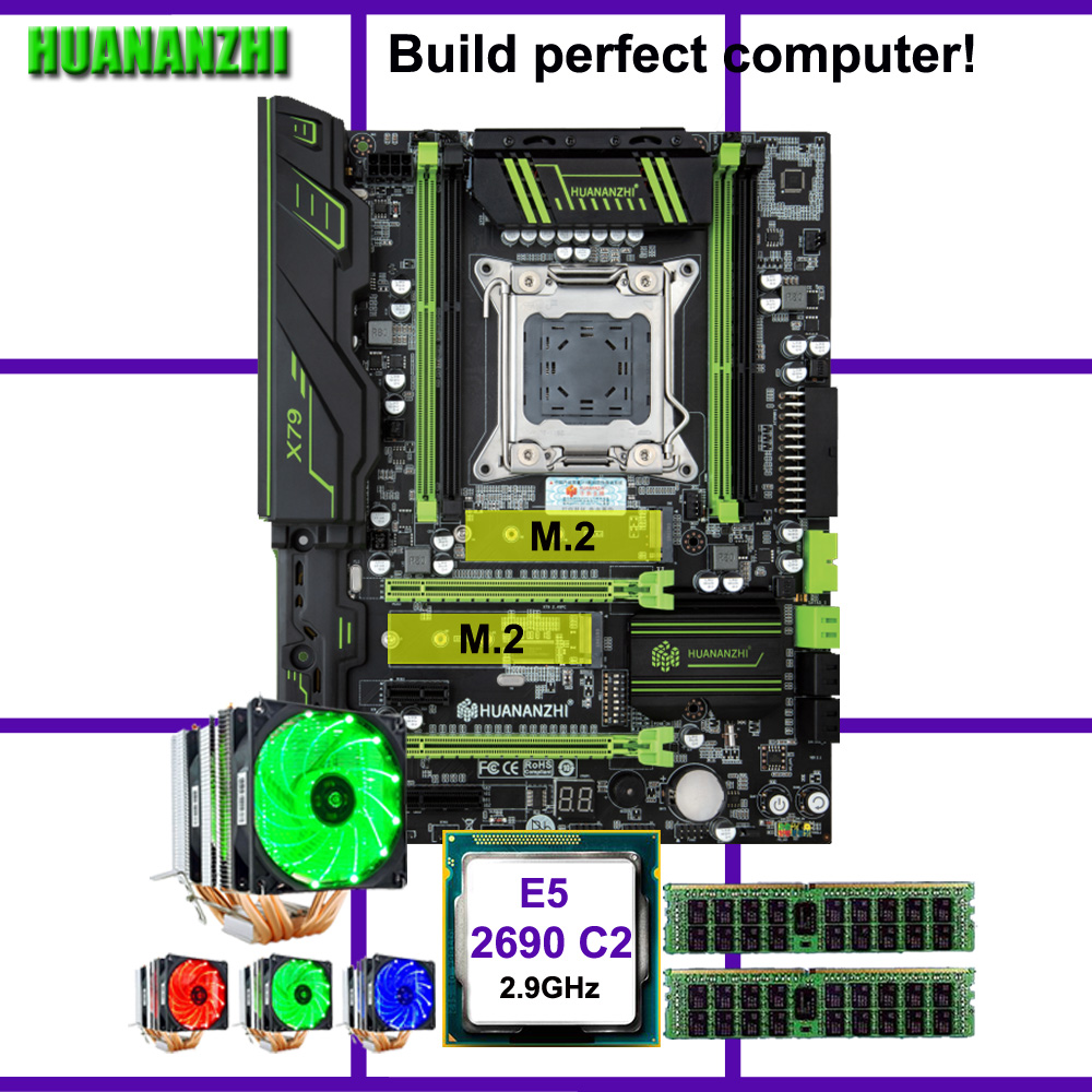 HUANANZHI X79 Pro motherboard with dual M.2 slot discount motherboard CPU Xeon E5 <font><b>2690</b></font> 2.9GHz 6 tubes cooler RAM 32G(2*16G) RECC image