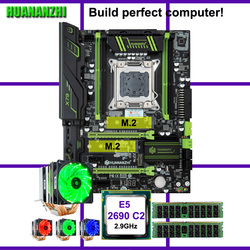 HUANANZHI X79 Super Motherboard Gaming Set Dual M.2 SSD Slot CPU Xeon E5 2690 2.9GHz 6 Tubes Cooler Brand RAM 32G(2*16G) RECC