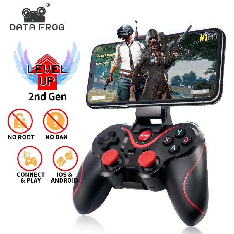 Sapo de dados sem fio bluetooth gamepad suporte oficial app controlador de jogo para iphone android telefone inteligente para ps3 pc caixa de tv