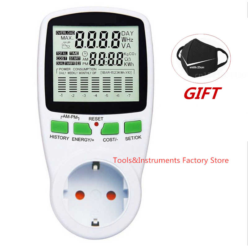 Digital LCD Energy Meter Wattmeter Watt Listrik Kwh Power Meter UNI EROPA Bahasa Perancis US UK AU Mengukur Outlet Power Analyzer