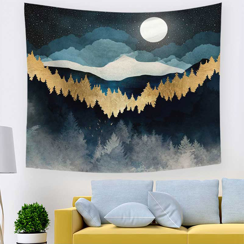 Tapiz Bohemian Custom 1PC Tapestry Landscape Wall Hanging Hot Sale High Quality Farmhouse Decoration Tapisserie Tenture Sunset image
