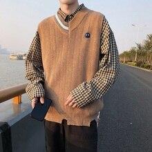 Корейский стиль, мужской жилет, сшитый без рукавов, свитера, Корейский жилет, мужской свитер без рукавов, жилеты, верхняя одежда, вязаный жилет
