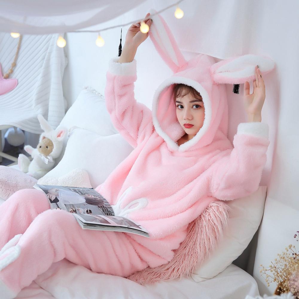 Dormxion Autumn Winter Women Pyjamas Sets Pajamas Sleepwear Suit Thick Warm Coral Flannel Nightgown Female Cartoon Animal