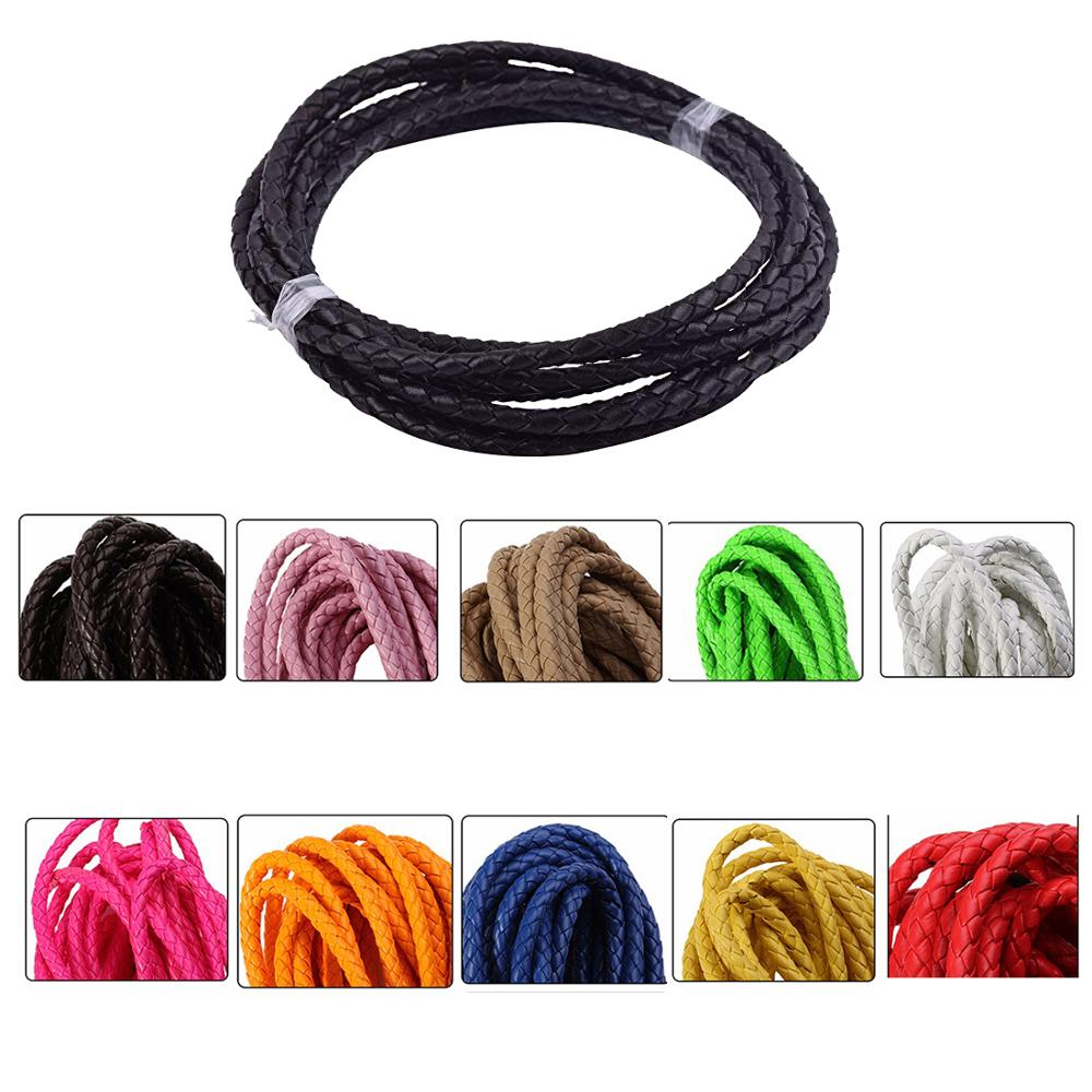 10m/lot 11 Colors  4mm Round Braided PU Leather Cord Rope Thread Necklace Bracelet For DIY Jewelry  Bolo Tie Cord Necktie