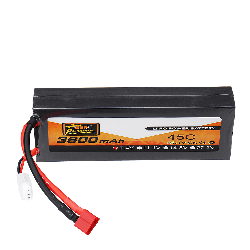 ZOP Power 7.4V 3600mAh 45C <font><b>2S</b></font> Lipo <font><b>Battery</b></font> T Plug for RC HPI HSP 1/8 1/10 Buggy RC Car Truck Axial Scx10 image