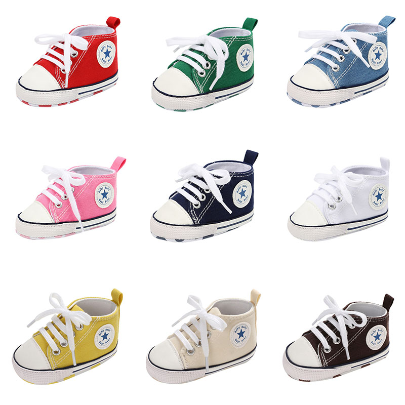 Star Canvas Baby Infant Boy Girl Shoes Newborn First Walkers Crib Shoes Soft Anti-Slip Sole Unisex Toddler Casual Shoes