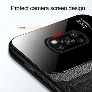 Image 3 - Leather Texture Plexiglass Case For Xiaomi Poco X3 Pro F3 M3 Mi Poxo Pocophone Pocco F M X 3 NFC Silicone Cover Shockproof Coque