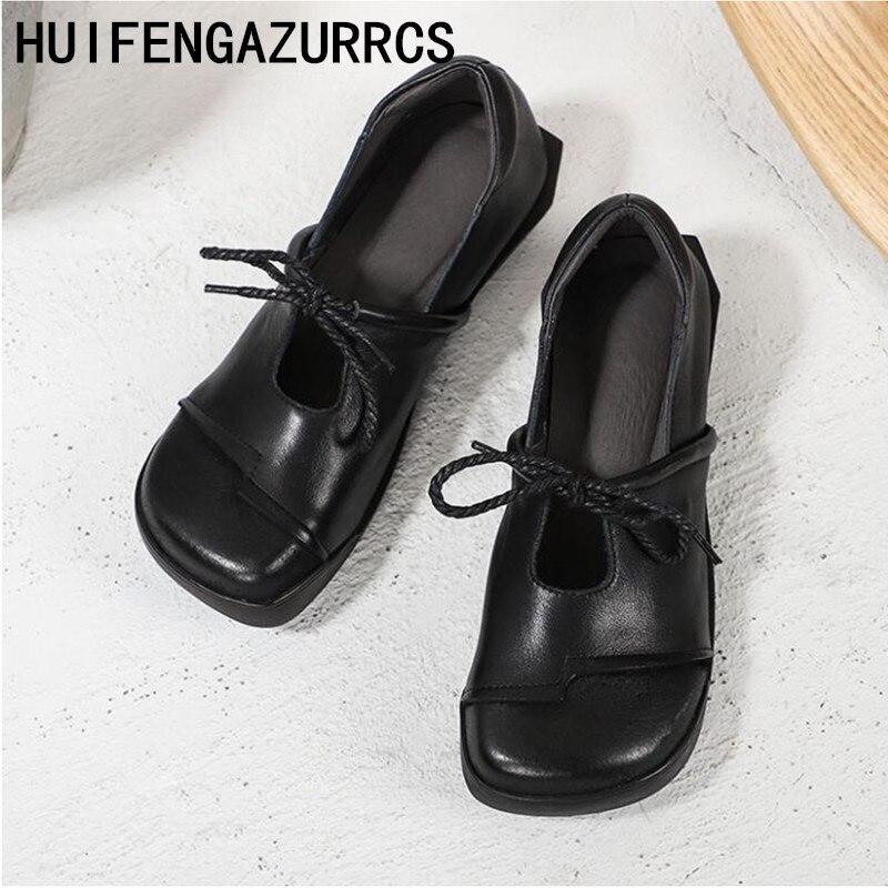 HUIFENGAZURRCS Genuine Leather Vintage literary women s shoes flat soft sole single toe skid proof breathable