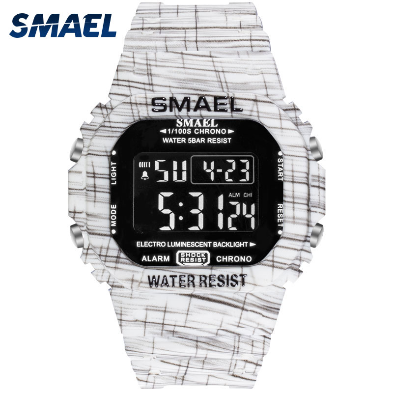 LED Bracelet Digital Watches SMAEL Watch Men Sport relogio masculino Camo Clock Men Digital1801 Waterproof Military Watches Army