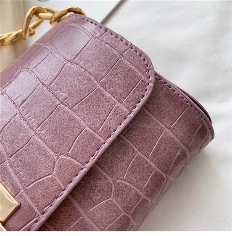 Crocodile Pattern Vintage Soild Color Small Square Bag For Women 2020 summer Handbag And Small Chain Bags Fashion Armpit Bag (24)