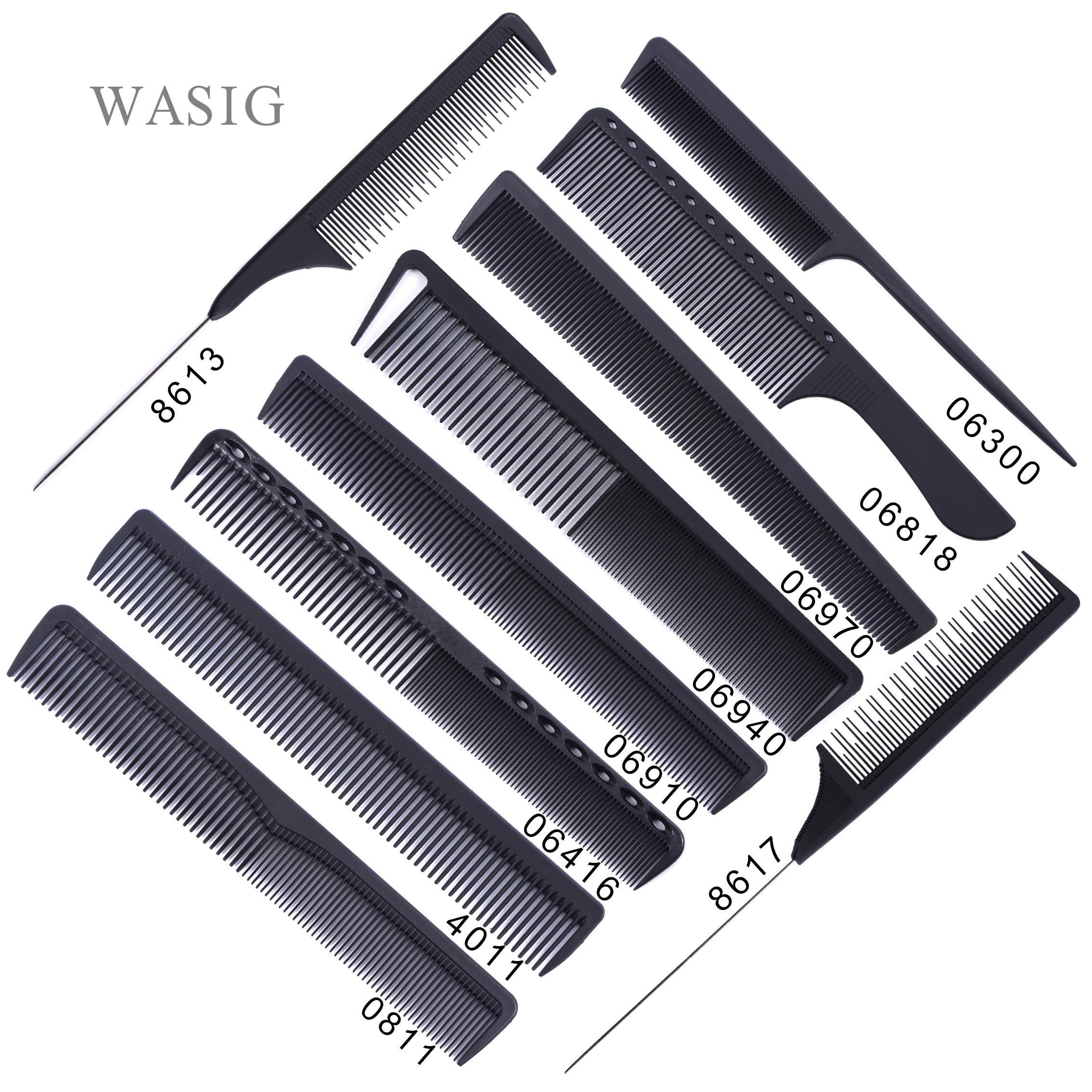 Black Professional Combs Hairdressing New Tail Comb Carbon Anti Static Comb Hair Cutting Comb(China)