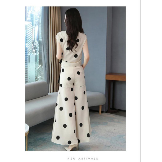 Women's Chiffon Wide Pants Skirt Suit Polka Dot  6
