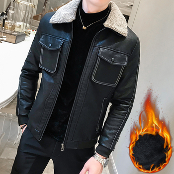 Korean Mens Coats Leather Bomer Jackets Short New 2019 Winter Mens Jackets Leather Turn Down Collar Mens Leather Clothing Black
