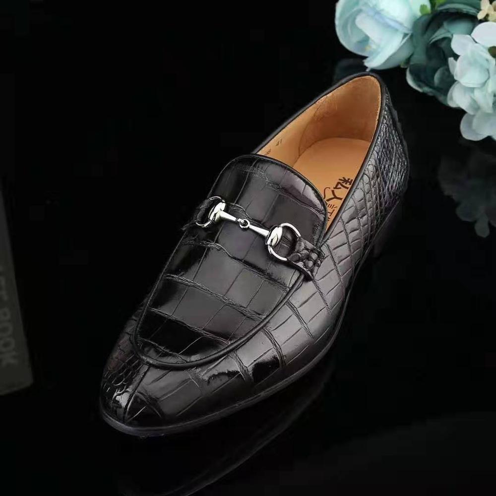 100% Genuine real crocodile skin men shoe durable solid crocodile belly skin men dress business shoe black color with cow lining
