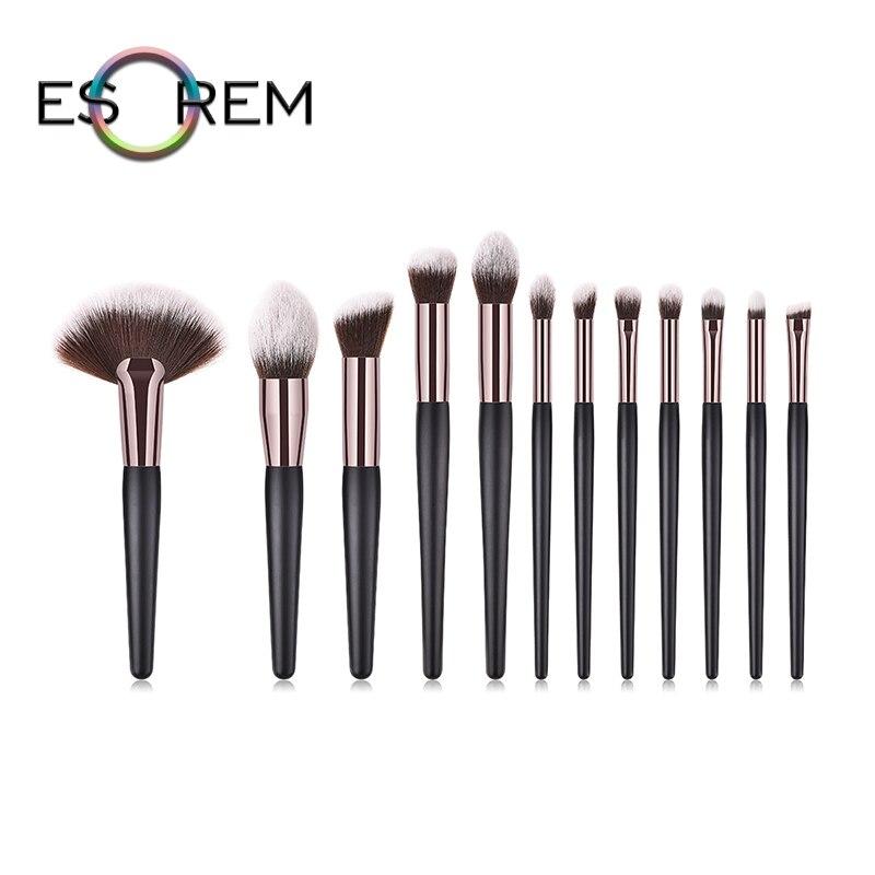 ESOREM 12pcs Bichromatic Hair Cosmetic Brushes Wood Handle Eye Makeup Brush Set Loose Powder Angled Eyeliner Brochas Maquillaje