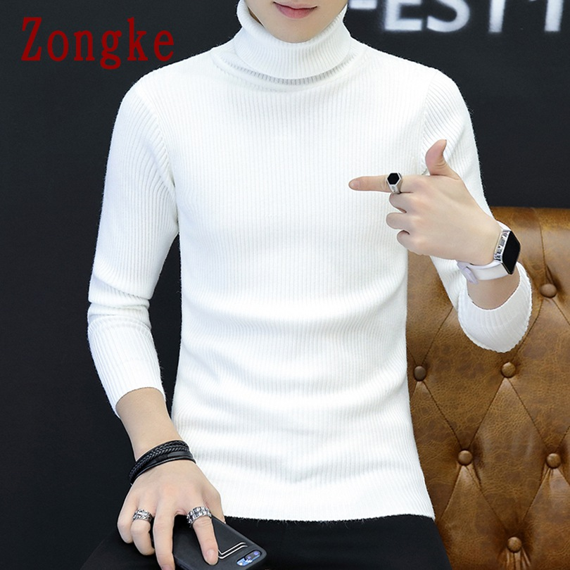 Zongke White Turtleneck Men Sweater Turtle Neck Men Pullover Sweater Men Coat XXXL 2019 Autumn Winter Man Sweaters Pull Clothes