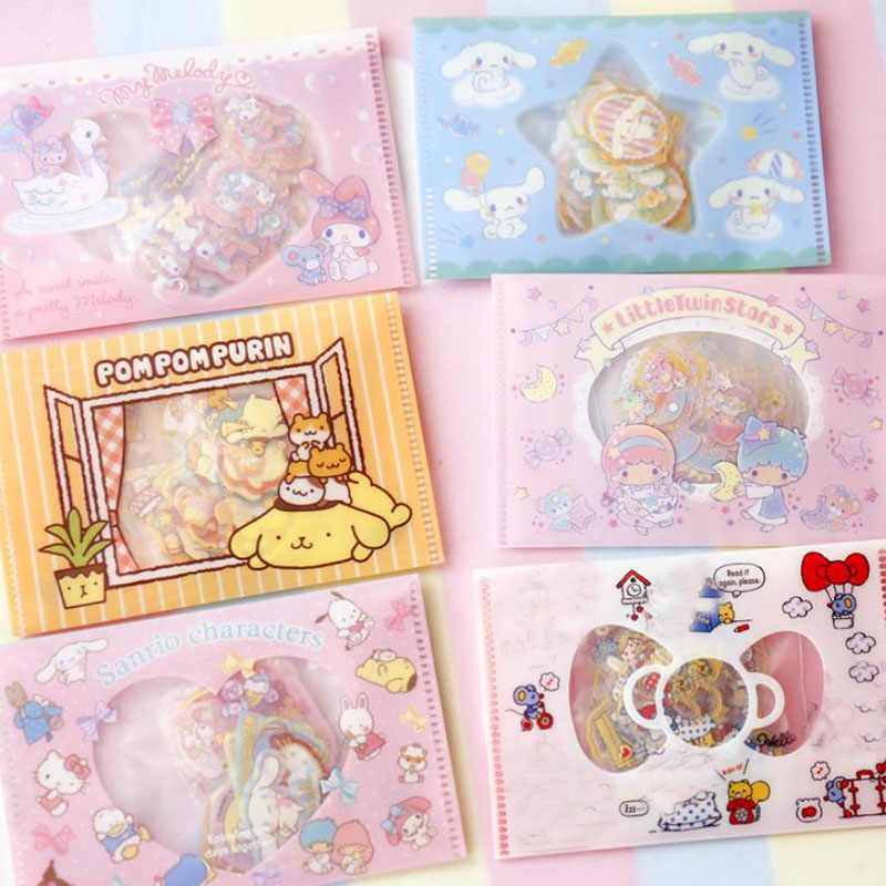 1pack new Twin Star Melody Sticker Pudding Cinnamoroll Dog Diary Label Stickers Pack Decor Scrapbooking Sticker toys gift