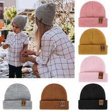 Новинка; зимняя шапка для мужчин, женщин и детей; Skullies Beanies; вязаная шапочка; шапки для родителей и детей; теплая однотонная детская мягкая шапка; шапка