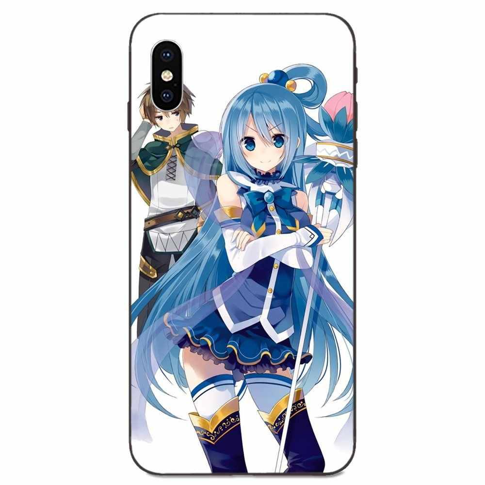 Sexy Anime Fille Aqua Konosuba Pour Apple iPhone 11 X XS Max XR Pro Max 4 4S 5 5S SE 6 6S 7 8 Plus TPU Téléphone D'impression
