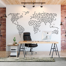 World Map Wall Stickers Geometric  Office Decal Abstract Vinyl Bedroom Living Room Modern Art Decor