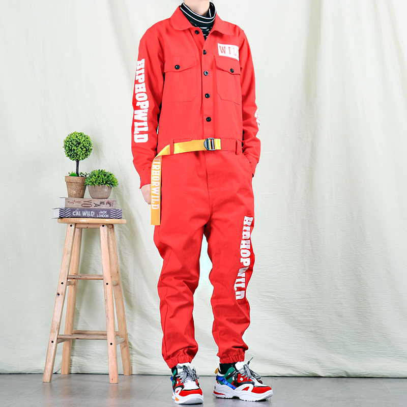 Autumn Trendy Male Personality Jumpsuit Men's Fashion Casual Overalls Men And Women Korean Hip Hop Jumpsuit