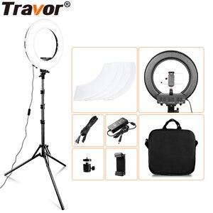 Image 1 - Travor 링 라이트 14 인치 링 램프 dimmable 콜드 및 따뜻한 빛 유튜브 메이크업 사진 ringlight 삼각대와 LED 라이트